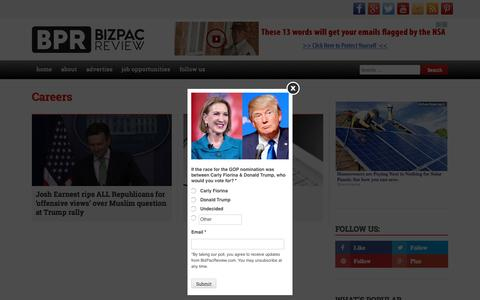 Screenshot of Jobs Page bizpacreview.com - Josh Earnest rips ALL Republicans for 'offensive views' over Muslim question at Trump rally   BizPac Review - captured Oct. 1, 2015