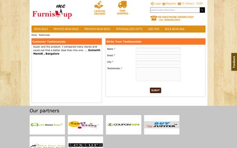 Screenshot of Testimonials Page furnishmeup.com - Online Bean Bags | FurnishMeUp - The Online Bean Bag and furniture store Bangalore - Bean Bags Special Offers - captured Sept. 26, 2014