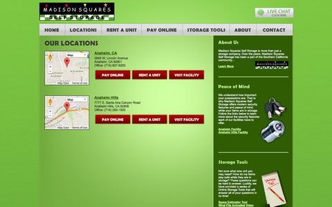 Screenshot of Locations Page madisonsquaresselfstorage.com - Our Self Storage Locations | Anaheim California Self Storage | Madison Squares Self Storage - captured Sept. 30, 2014