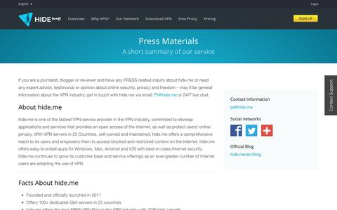 Screenshot of Press Page hide.me - Press Enquiries | hide.me - captured Dec. 23, 2016