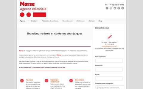 Screenshot of Home Page agence-morse.fr - Agence Morse Agence éditoriale | Agence Morse à Paris | Brand Journalisme et Rédaction de contenus stratégiques - captured Sept. 30, 2014