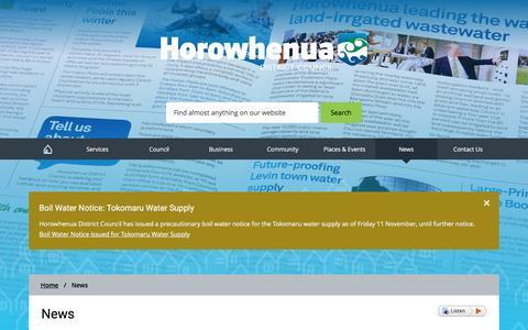 Screenshot of Press Page horowhenua.govt.nz - News - Horowhenua District Council - captured Nov. 12, 2016
