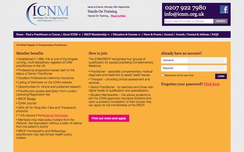 Screenshot of Signup Page icnm.org.uk - Member login - captured Oct. 6, 2014