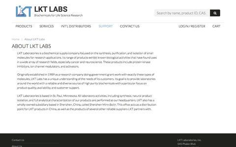 Screenshot of About Page lktlabs.com - About LKT Labs - LKT Labs - Biochemicals for Life Science Research - captured Oct. 12, 2016