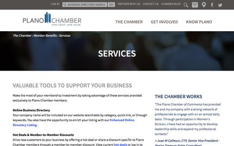 Screenshot of Services Page planochamber.org - Membership Benefits | Plano Chamber of Commerce | Plano, Texas - captured Feb. 16, 2018