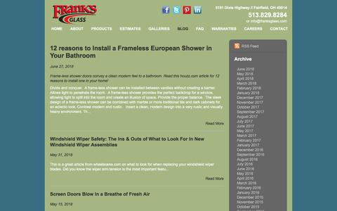 Screenshot of Blog franksglass.com - <p>Twelve reasons to install a European Shower in your bathroom remodel.</p> - captured Aug. 22, 2018