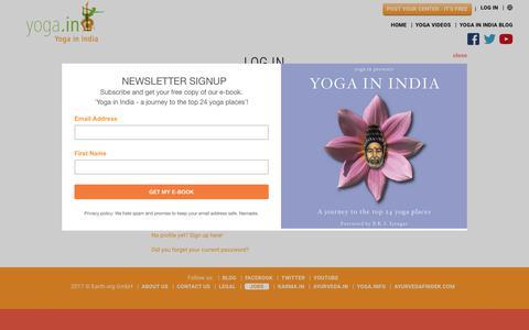 Screenshot of Login Page yoga.in - Yoga Retreats in India, Yoga Teacher Training in India | yoga.in - captured June 22, 2017