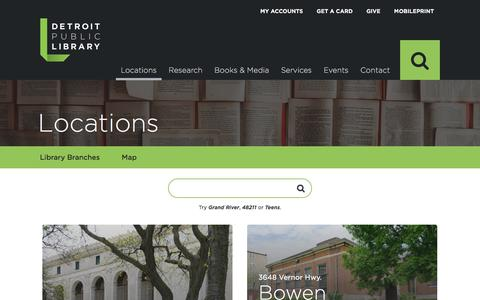 Screenshot of Locations Page detroitpubliclibrary.org - Locations | Detroit Public Library - captured Feb. 22, 2018