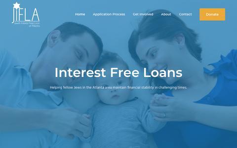 Screenshot of Home Page jifla.org - Jewish Interest Free Loans of Atlanta - captured Oct. 13, 2018