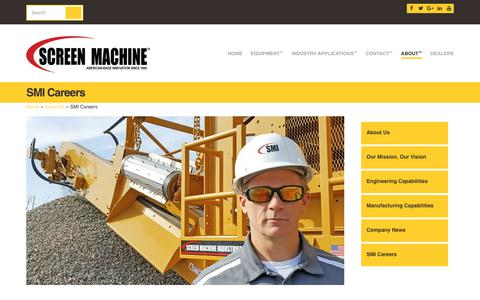 Screenshot of Jobs Page screenmachine.com - Professional Careers With Screen Machine Industries - captured Oct. 5, 2017
