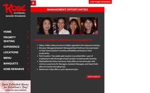 Screenshot of Team Page kobesteakhouse.com - Management Opportunities - captured Feb. 12, 2016