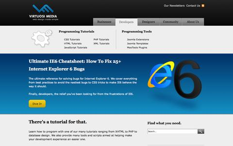 Screenshot of Developers Page virtuosimedia.com - Developers - captured Sept. 23, 2014