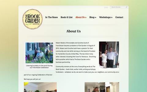Screenshot of About Page bookgarden.biz - About Us | The Book Garden | A Community Bookshop in Frenchtown, NJ | www.bookgarden.biz - captured Feb. 23, 2016