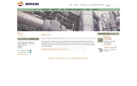 Screenshot of About Page talisman-energy.com - About Us - Repsol Oil & Gas Inc. - captured Jan. 29, 2016