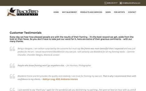 Screenshot of Testimonials Page blackbirdframe.com - Customer Testimonials – BlackBird Frame and Art - captured Nov. 22, 2016