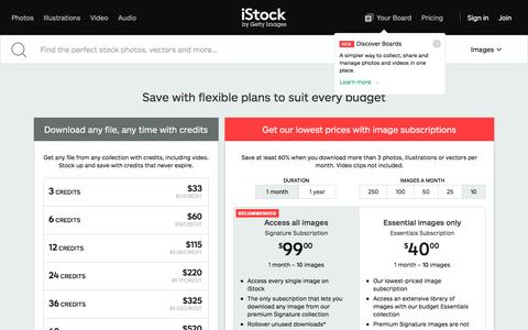 Screenshot of Pricing Page istockphoto.com - Download Video and Images: Buy Credits and Subscriptions | iStock - captured Jan. 30, 2017