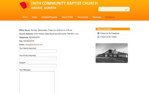 Screenshot of Contact Page fcbcairdrie.com - Contact Us «  Faith Community Baptist Church - captured Oct. 5, 2014