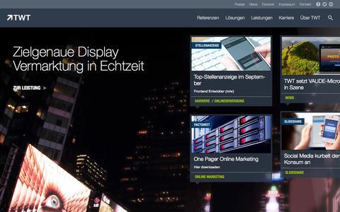 Screenshot of Home Page twt.de - TWT Interactive - captured Sept. 19, 2014