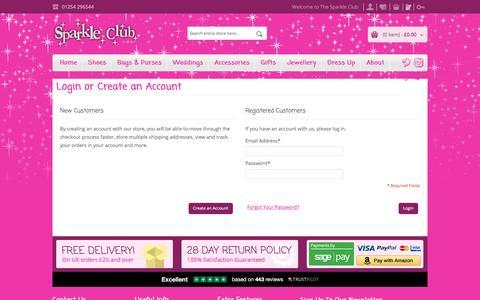 Screenshot of Login Page thesparkleclub.co.uk - Customer Login - captured Dec. 26, 2016