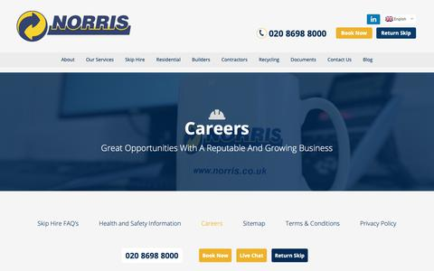 Screenshot of Jobs Page norriskips.co.uk - Jobs & Vacancies | Norris Waste Management - captured Oct. 18, 2018