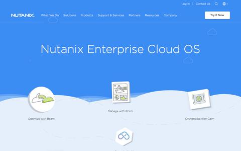 Screenshot of Products Page nutanix.com - Products   Nutanix - captured May 10, 2018
