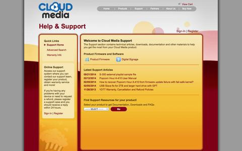 Screenshot of Support Page cloudmedia.com - Welcome to Cloud Media Support - captured Sept. 23, 2014