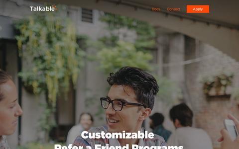 Screenshot of Home Page curebit.com - Talkable   Customizable Refer a Friend Programs - captured Sept. 12, 2014