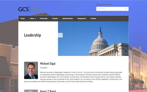 Screenshot of Team Page gcs-dc.com - Leadership « GCS, Inc. - captured Oct. 1, 2014