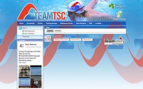 Screenshot of Press Page teamunify.com - Templeogue Swim Club : News - captured Jan. 27, 2018