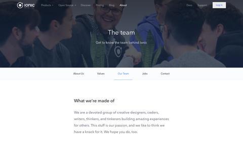 Screenshot of Team Page ionic.io - Company Team - Ionic Platform - captured March 9, 2016
