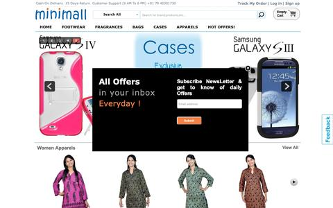 Screenshot of Home Page theminimall.com - TheMiniMall.com| Online Shopping India Buy/Sell/Shop Mobiles Cases, Branded Fragrances,         Fashion Footwears, Bags & Wallets| India Shopping - captured Oct. 24, 2018