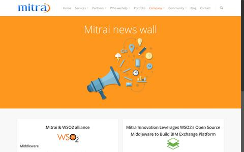 Screenshot of Press Page mitrai.com - industry news | mitra innovation - captured Feb. 14, 2016
