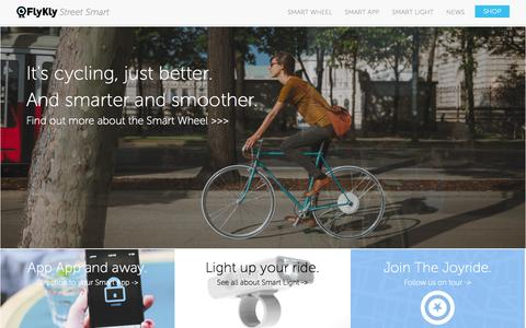 Screenshot of Home Page flykly.com - Smart Wheel, Smart Light, Smart App   FlyKly Street Smart - captured Sept. 19, 2014