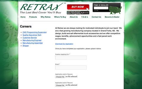 Screenshot of Jobs Page retrax.com - Careers | Retrax - captured Oct. 8, 2014
