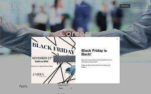 Screenshot of Jobs Page farra.com - Careers — Farra Design | Furniture Store Lebanon - captured Nov. 14, 2018