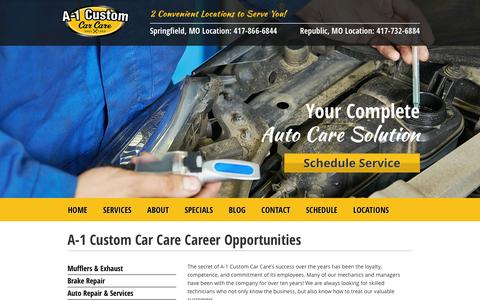 Screenshot of Jobs Page a-1customautorepair.com - A-1 Custom Car Care Career Opportunities - captured Feb. 3, 2016