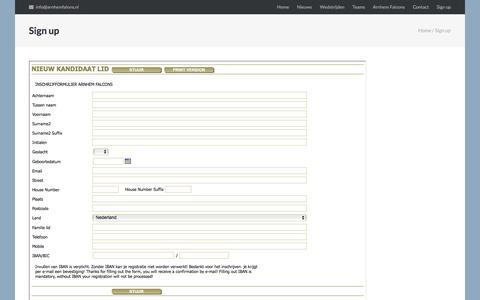 Screenshot of Signup Page arnhemfalcons.nl - Sign up – Arnhem Falcons - captured March 3, 2018