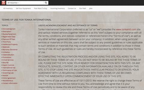 Screenshot of Terms Page tonkaintl.com - Terms Of Use - Tonka International (TKI) - captured Oct. 24, 2017