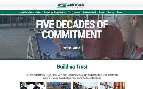 Screenshot of Home Page andgar.com - Andgar Corporation - captured Oct. 8, 2017