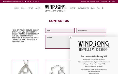 Screenshot of Contact Page whoiswindsong.com - Contact | Windsong Jewellery Design - captured Oct. 18, 2018