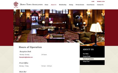 Screenshot of Hours Page thedta.com - Hours of Operation - Down Town Association - captured Oct. 9, 2018