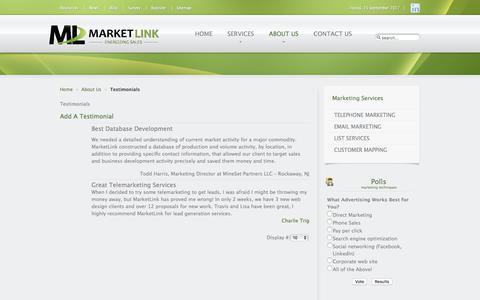 Screenshot of Testimonials Page energizingsales.com - Testimonials   MarketLink - Energizing Sales - captured Sept. 16, 2017