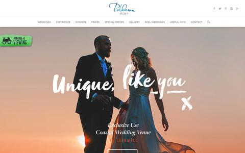 Screenshot of Home Page polhawnfort.com - Polhawn Fort a romantic and unique wedding venue on the Cornish coast - captured July 19, 2018