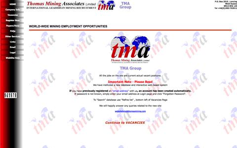 Screenshot of Home Page thomasmining.com - Thomas Mining Associates - Homepage - captured Oct. 7, 2014