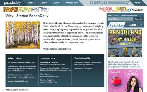 Screenshot of About Page pando.com - Why I Started PandoDaily | PandoDaily - captured June 17, 2015