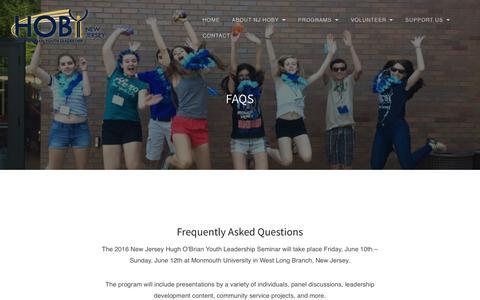 Screenshot of FAQ Page njhoby.org - FAQs - captured Sept. 17, 2017