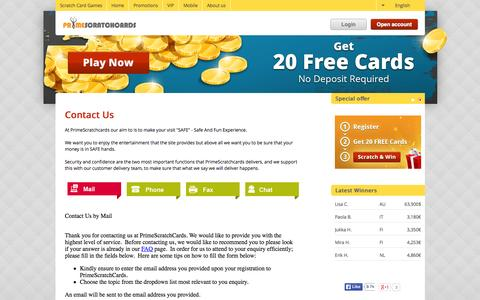 Screenshot of Contact Page primescratchcards.com - Online Scratch Cards - 20 FREE Games| PrimeScratchCards - captured July 24, 2015