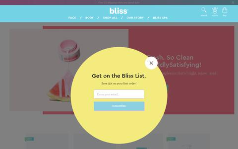 Screenshot of Home Page blissworld.com - Blissworld Official Online Site: Face & Body Skin Care Products - captured Oct. 3, 2018