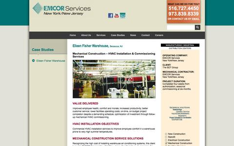 Screenshot of Case Studies Page emcorservicesnynj.com - Eileen Fisher Warehouse :: EMCOR Services NY/NJ - captured March 11, 2018