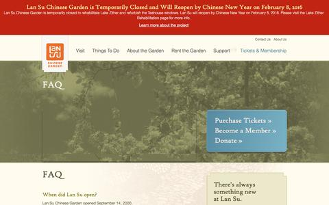 Screenshot of FAQ Page lansugarden.org - Frequently Asked Questions | Lan Su Chinese Garden | Lan Su Chinese Garden - captured Jan. 25, 2016
